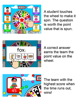 Free Superhero Quiz Wheel CVC Words Game for SmartBoards, Tablets & Computers