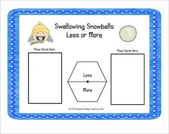 Free!! Swallowing Snowball Less or More Math Center Game