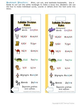 Syllable Division Rules Bookmark Freebie