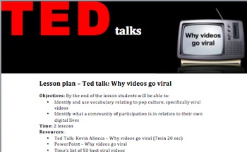 FREE 'TED talks: Why videos go viral' lesson plan and activities