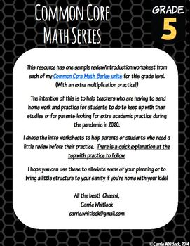 Distance Learning Free Take Home Math Packet - 5th Grade Common Core