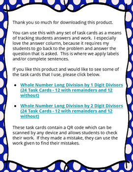 Free Task Card Record Sheet- Separate work and answer column designed for Math!