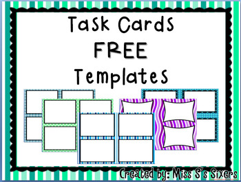 free task card templates by miss s s sixers teachers pay teachers