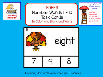 Free Task Cards Number Words 1-10 Color and Black and White Thanksgiving Turkey