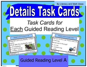 {Free} Task Cards Organized By Guided Reading/Lexile Levels (Level A)