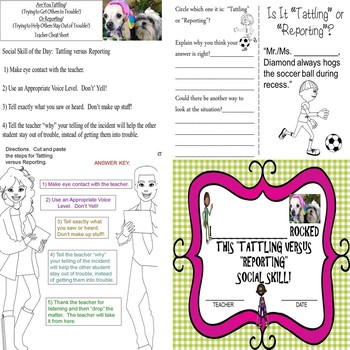 Tattling?  Or Reporting? Social Skill Worksheets/Journal/Certificate SPED/ELD