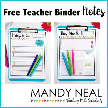 Free Teacher Binder Notes