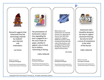 Free Teacher Bookmarks with Homework Quotes