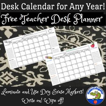 Free Teacher Desk Planner - Back to School Calendar for Any Year