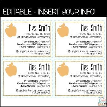 Teacher Information Cards - Open House