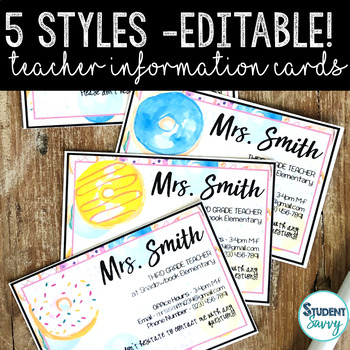 Teacher Information Cards - Open House Free