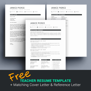 free teacher resume template and matching cover letter for ms word
