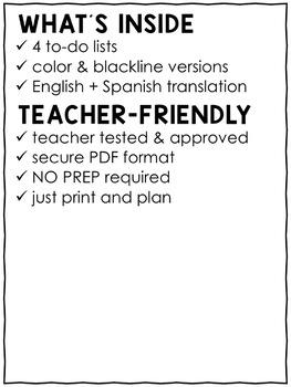 Organization Tools - Teacher To-Do List
