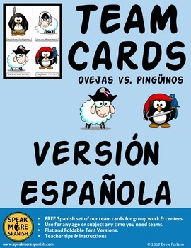 Free Team Cards for Spanish Games or Centers. Fichas para Juegos en Español