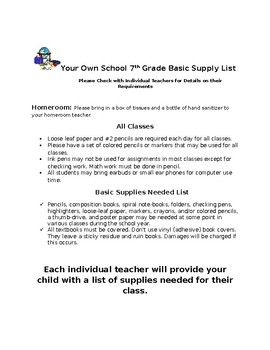 Free - Team Letter and Supply List