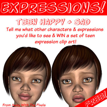 Free Teen Happy and Sad Clip Art for Secondary and High Sc