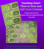 Free Telling Time To Hour and Half Hour Puzzle Math Center