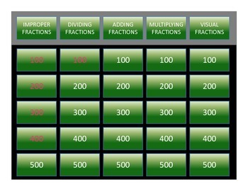 Free Template for Math Fractions Game Show