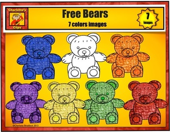 Free Textured Bears Clip art by Charlotte's Clips