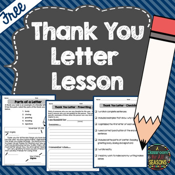 Free Thank You Letter Lesson