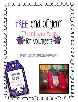 Free Thank You Tags for Volunteers