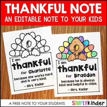 Free Thankful Note for Your Students (Editable)