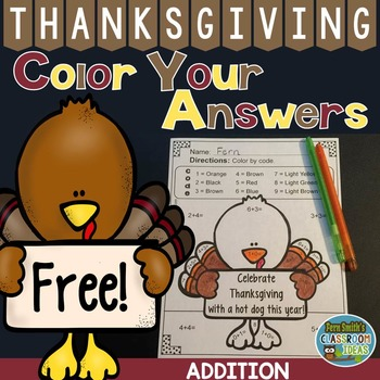 Thanksgiving Color By Number Addition Freebie