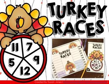 Free Thanksgiving Addition Math Center: Turkey Races!