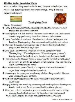Free Thanksgiving Food Activities