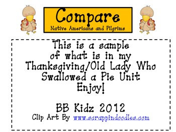 Free Thanksgiving Kindergarten - Compare Pilgrims and Native Americans (Writing)