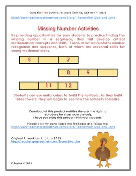 Free Thanksgiving Missing Number Activity
