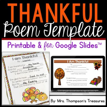 Free Thanksgiving Poem Template