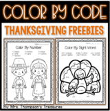 Thanksgiving Activities Free Color by Code (Number & Sight Words)