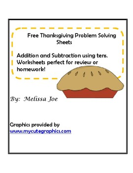 Free Thanksgiving Problem Solving Sheets