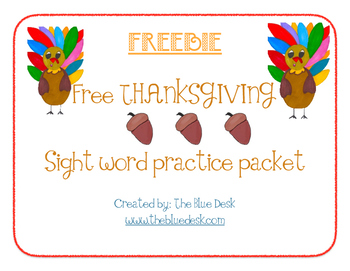 Free Thanksgiving Sight Word Packet