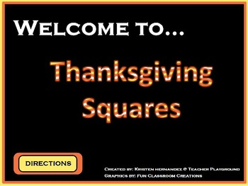 Thanksgiving Squares ActivInspire Game Template (Hollywood Squares)