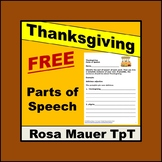 Free Thanksgiving Worksheet Parts of Speech Activity
