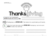 Free Thanksgiving Worksheets - Thematic Word Play Sample P