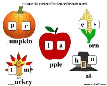 Free Thanksgiving learning pack pre - K through K