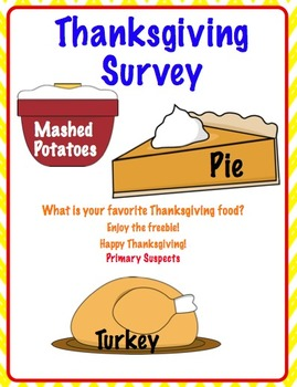 Free Thanksgiving survey with 3 data points for primary grades