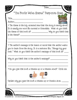 "Free ""The Books We've Shared"" Response Sheet"