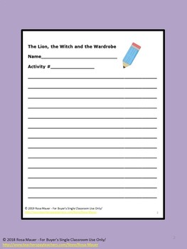 Free The Lion, the Witch and the Wardrobe Book Extension Activities