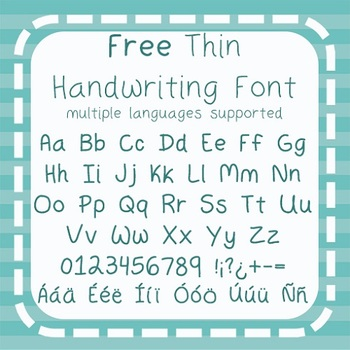 Free - Thin Handwriting Font - Commercial Use {Spanish, French, German, + more}