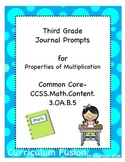 Free Third Grade Journal Prompts  for Properties of Multiplication