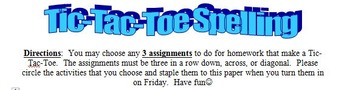 Free Tic-Tac-Toe Spelling Homework