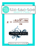 Free Tic Tac Toe Quadratic Formula Partner Activity