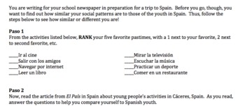 Free Time Authentic Reading and Comparison (Spanish)