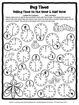 Free Time Game: Telling Time to the Hour and Half Hour Game