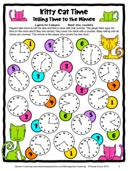 Free Time Game: Telling Time to the Minute Game