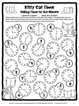 Free Telling Time to the Minute Game - Printable in Color ...
